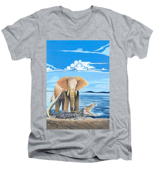 Men's V-Neck T-Shirt featuring the painting Faune D'afrique Centrale 02 by Emmanuel Baliyanga