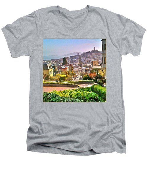 Favorite Places Lombard Street San Francisco California Men's V-Neck T-Shirt by Anna Porter