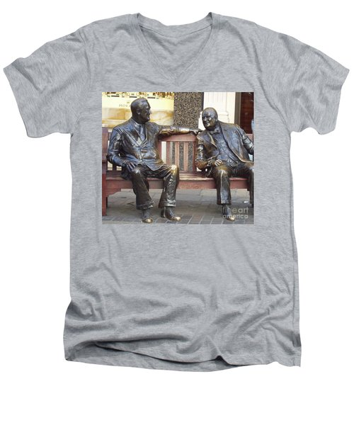 Fdr And Churchill Having A Chat In London Men's V-Neck T-Shirt