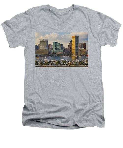 Federal Hill View To The Baltimore Skyline Men's V-Neck T-Shirt