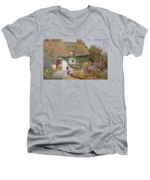 Feeding The Pigeons Men's V-Neck T-Shirt by Arthur Claude Strachan