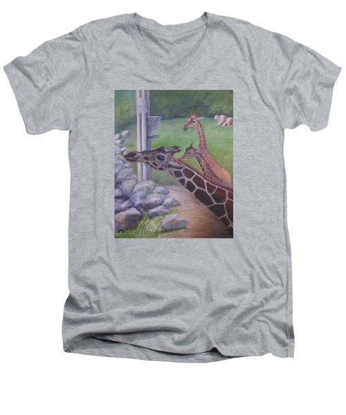 Feeding Time At The Jacksonville Zoo Men's V-Neck T-Shirt