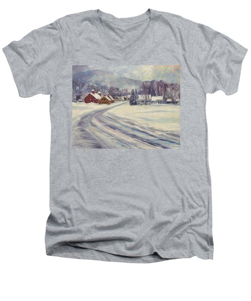 Felchville Village In The Snow Men's V-Neck T-Shirt