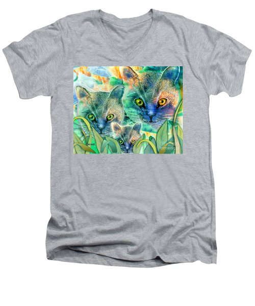 Men's V-Neck T-Shirt featuring the painting Feline Family by Teresa Ascone