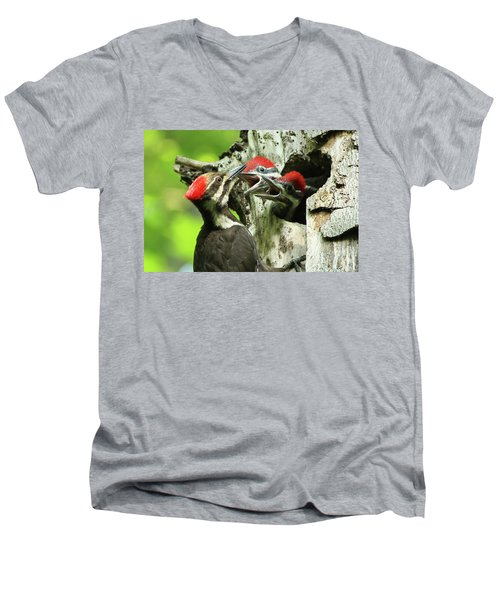 Female Pileated Woodpecker At Nest Men's V-Neck T-Shirt