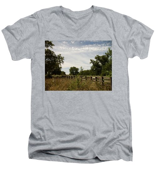 Men's V-Neck T-Shirt featuring the photograph Fence 2 by Cynthia Lassiter