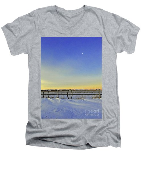Fence And Moon Men's V-Neck T-Shirt by Desiree Paquette