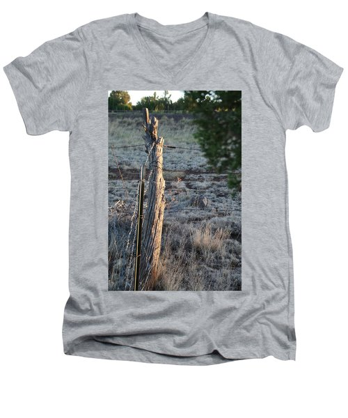 Men's V-Neck T-Shirt featuring the photograph Fence Post by David S Reynolds