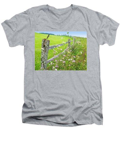 Fence Post Men's V-Neck T-Shirt by Melinda Fawver