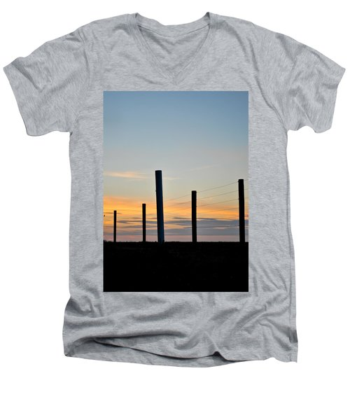 Fence Posts At Sunset Men's V-Neck T-Shirt