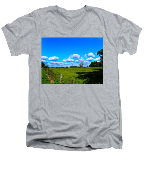 Fence Row And Clouds Men's V-Neck T-Shirt by Nick Kirby
