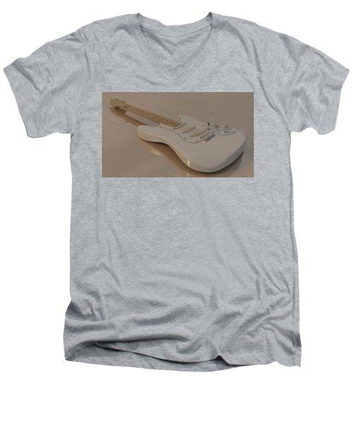 Fender Stratocaster In White Men's V-Neck T-Shirt