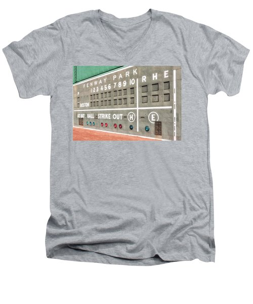 Fenway Park Scoreboard Men's V-Neck T-Shirt by Susan Candelario