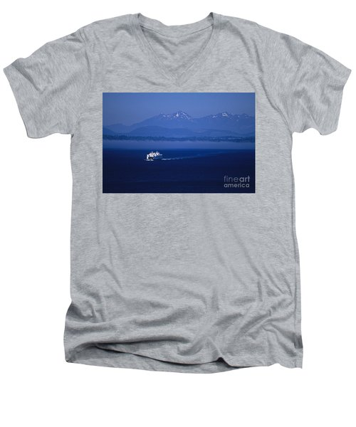 Ferry Boat In Puget Sound With Olympic Mountains Men's V-Neck T-Shirt