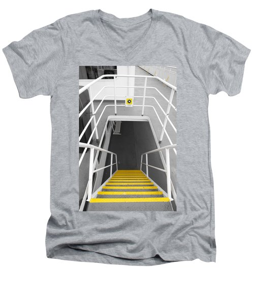 Men's V-Neck T-Shirt featuring the photograph Ferry Stairwell by Marilyn Wilson