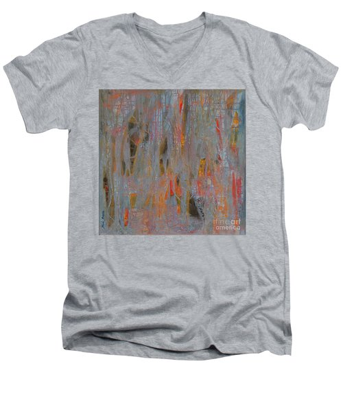 Men's V-Neck T-Shirt featuring the painting Fibres Of My Being by Mini Arora