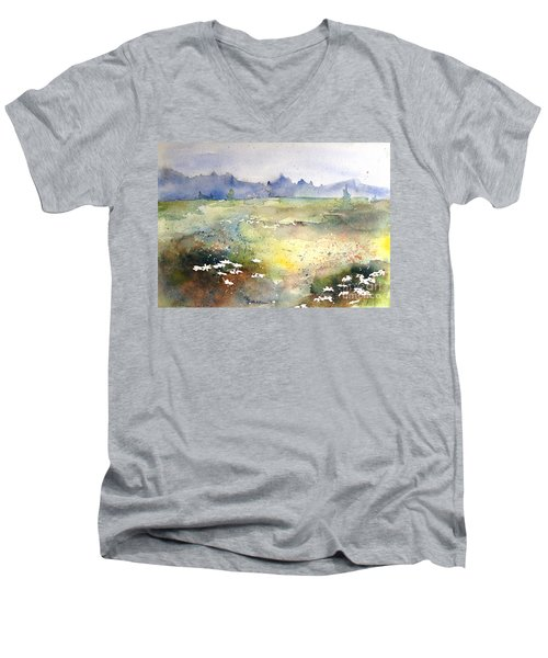 Men's V-Neck T-Shirt featuring the painting Field Of Daisies by Marilyn Zalatan