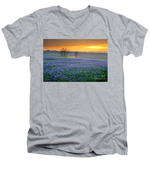Field Of Dreams Texas Sunset - Texas Bluebonnet Wildflowers Landscape Flowers  Men's V-Neck T-Shirt by Jon Holiday