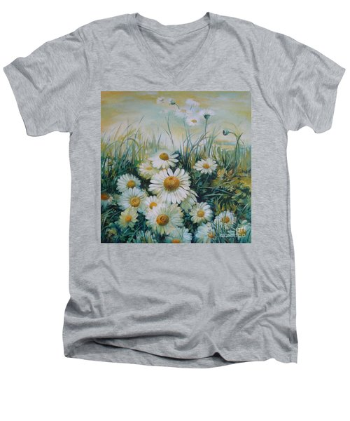 Men's V-Neck T-Shirt featuring the painting Field Of Flowers by Elena Oleniuc