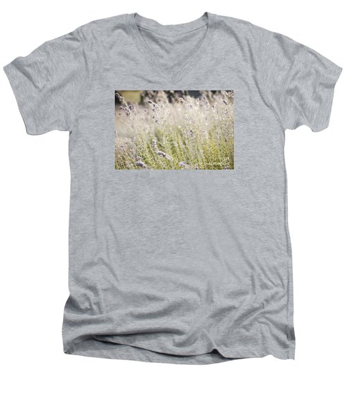 Field Of Lavender At Clos Lachance Vineyard In Morgan Hill Ca Men's V-Neck T-Shirt by Artist and Photographer Laura Wrede