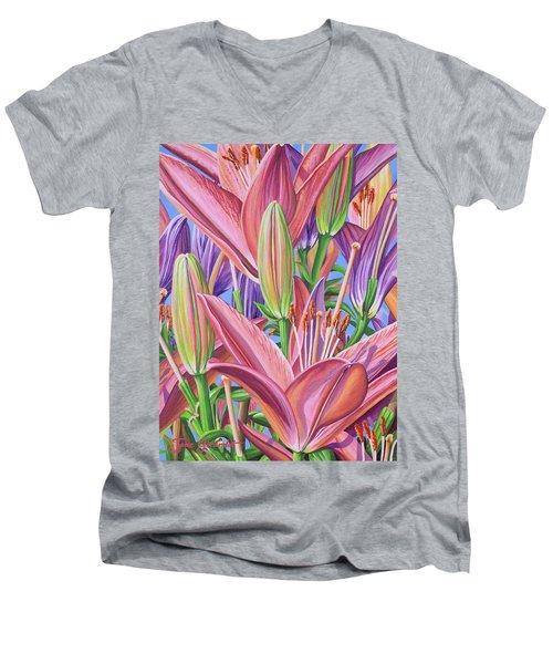 Field Of Lilies Men's V-Neck T-Shirt