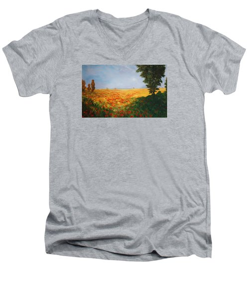 Field Of Poppies Men's V-Neck T-Shirt by Jean Walker
