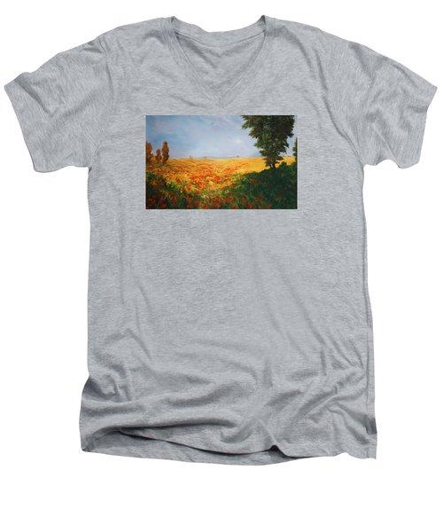 Field Of Poppies Men's V-Neck T-Shirt