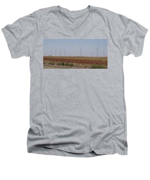 Men's V-Neck T-Shirt featuring the photograph Field Of Wind by Fortunate Findings Shirley Dickerson