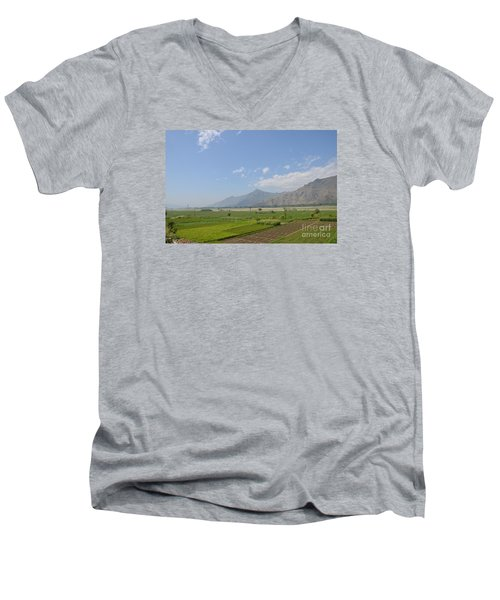 Men's V-Neck T-Shirt featuring the photograph Fields Mountains Sky And A River Swat Valley Pakistan by Imran Ahmed