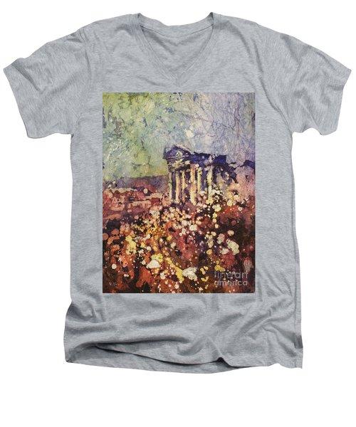 Fields Of Flower- And Roman Temple Men's V-Neck T-Shirt