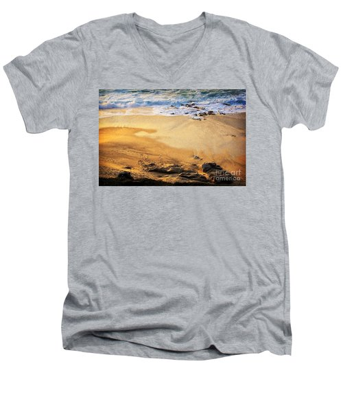 Men's V-Neck T-Shirt featuring the photograph Fiery Beach by Ellen Cotton