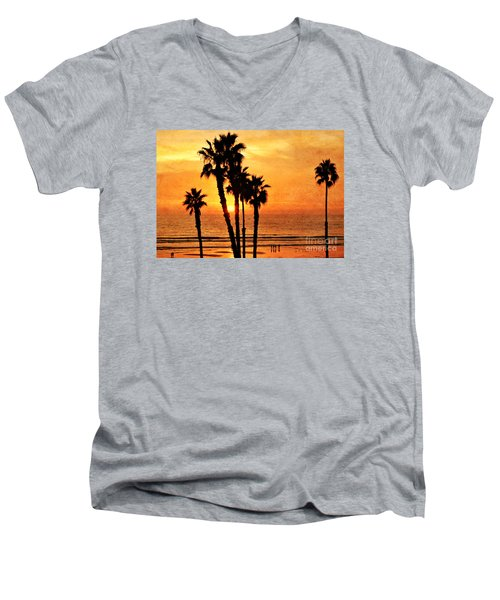 Fiery California Sunset Oceanside Beach Men's V-Neck T-Shirt