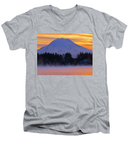 Fiery Dawn Men's V-Neck T-Shirt by Tikvah's Hope