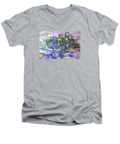 Fig Tree And Olive Trees In A Tuscan Garden Men's V-Neck T-Shirt by Trudi Doyle