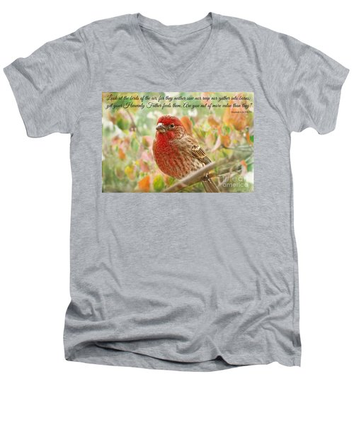 Finch With Verse New Version Men's V-Neck T-Shirt by Debbie Portwood