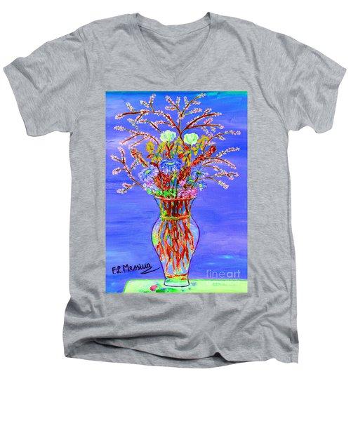 Men's V-Neck T-Shirt featuring the painting Fiori by Loredana Messina