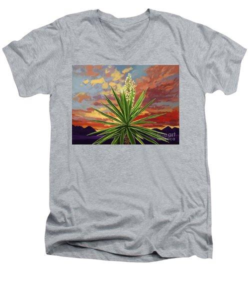 Fire Sky Desert Blooming Yucca Men's V-Neck T-Shirt