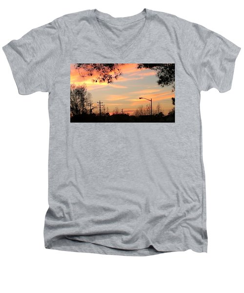Men's V-Neck T-Shirt featuring the photograph Fire Sky by Thomasina Durkay