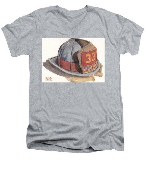 Firefighter Helmet With Melted Visor Men's V-Neck T-Shirt