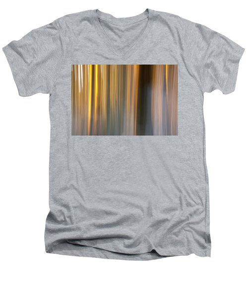 Men's V-Neck T-Shirt featuring the photograph First Snow In Sunset by Davorin Mance