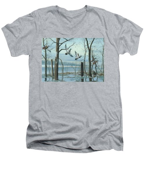 Men's V-Neck T-Shirt featuring the painting First Snow by Mike Brown