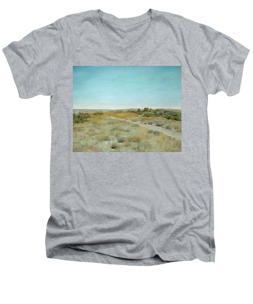 First Touch Of Autumn Men's V-Neck T-Shirt by William Merritt Chase