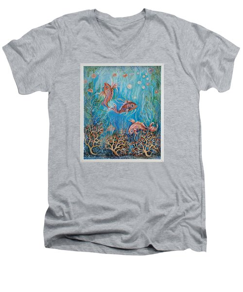 Fish In A Pond Men's V-Neck T-Shirt by Yolanda Rodriguez