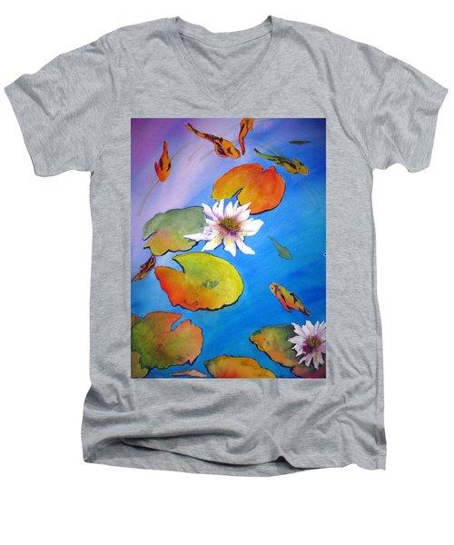 Fish Pond I Men's V-Neck T-Shirt by Lil Taylor