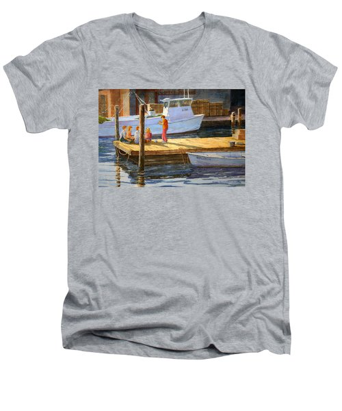 Fish Tales At Cortez Men's V-Neck T-Shirt