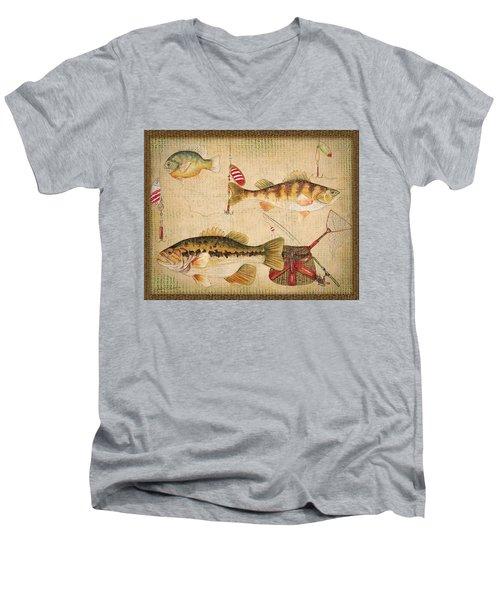 Fish Trio-a-basket Weave Border Men's V-Neck T-Shirt