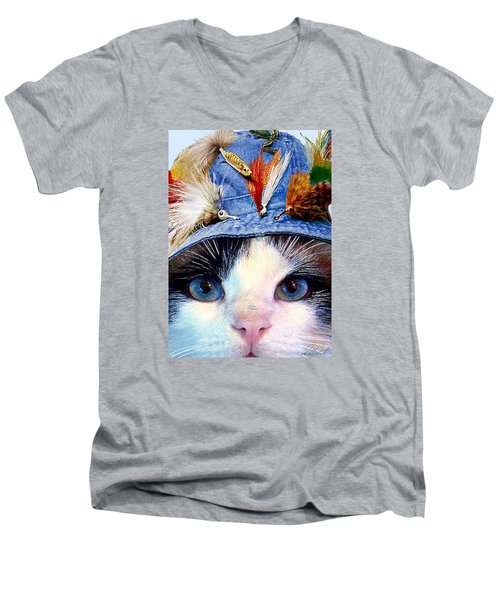 Fisher Cat Men's V-Neck T-Shirt by Michele Avanti