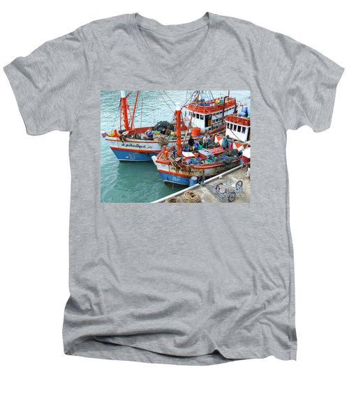 Men's V-Neck T-Shirt featuring the photograph Fisherman by Andrea Anderegg