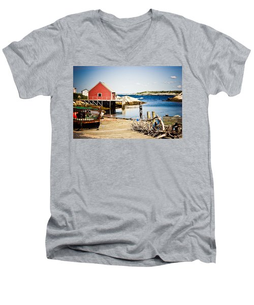 Men's V-Neck T-Shirt featuring the photograph Fisherman's Cove by Sara Frank