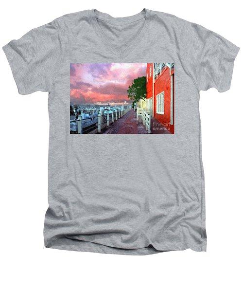 Men's V-Neck T-Shirt featuring the photograph Fisherman's Village Marina Del Mar Ca by David Zanzinger